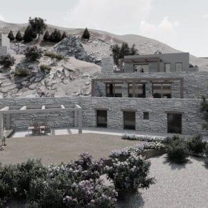 εξοχικές πέτρινες κατοικίες - αρχιτεκτονικός σχεδιασμός Κάρυστος